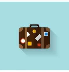 Flat travel bag web icon vector