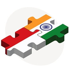 Indonesia and india flags in puzzle vector