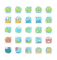 Urban village landscapes flat icon set vector