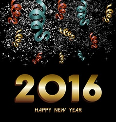 New Year 2016 firework confetti gold card vector image