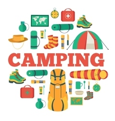 Camping equipment set circle infographics template vector