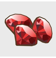 Three stone ruby closeup vector