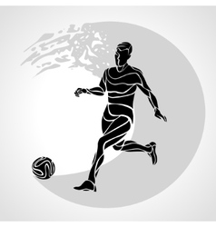 Soccer player kicks the ball the colorful vector
