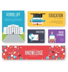 Back to school set of cards design vector