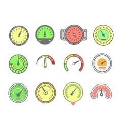 Line meter icon set speedometers vector