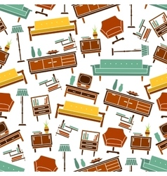 Seamless retro home furniture pattern background vector image