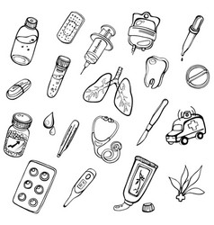 a set of hand-drawn icons on a theme medicine vector image vector image
