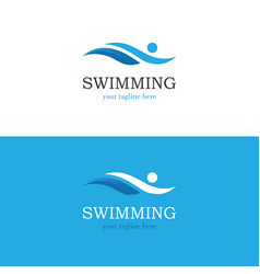 Abstract swimming logo vector