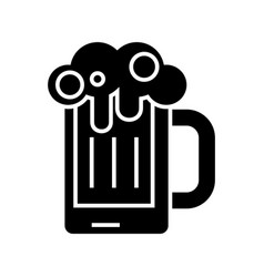 beer glass icon black sign vector image