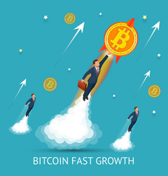 bitcoin is fast growing digital currency vector image vector image