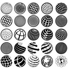 Black and white icons globe vector
