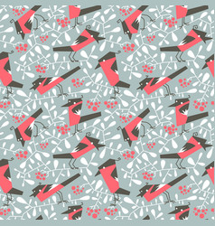 Bullfinch seamless pattern in flat simple style vector