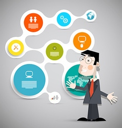 Business Man with Paper Circle Presentation Layout vector image vector image