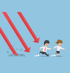 Businessman run away from falling graph vector