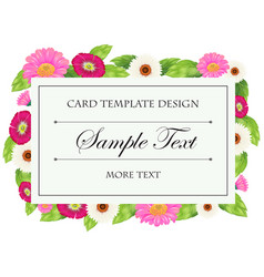 card template with pink and white flowers vector image