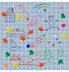 Childrens drawings on the wall vector image vector image