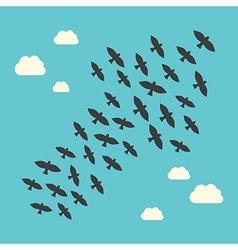 Conceptual birds flying upwards vector