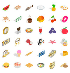 Delicious food icons set isometric style vector