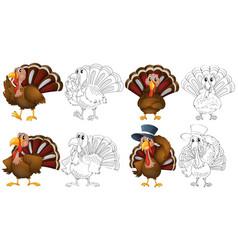 Doodle character for wild turkeys vector