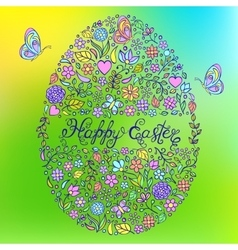 easter egg on colorful background vector image
