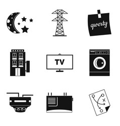 electrical network icons set simple style vector image vector image