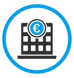Euro company building rounded icon vector
