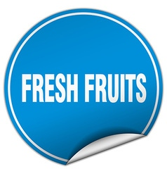fresh fruits round blue sticker isolated on white vector image vector image