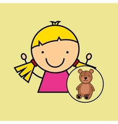girl happy cartoon teddy vector image