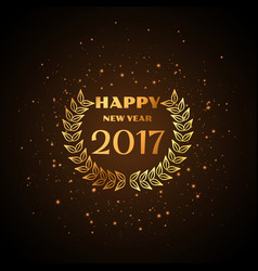 Happy new year golden text with laurel wreath vector