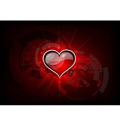 heart on the red tech background vector image vector image