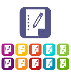 Notebook icons set vector