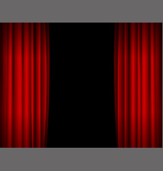 Realistic red opened stage curtains background vector