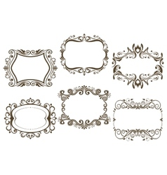 Retro vignettes and frames set vector image