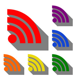 rss sign set of red orange yellow vector image