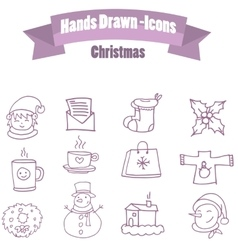 Set of christmas icon with hand draw vector