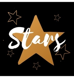 set of stars with white text gold stars on vector image vector image