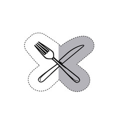 Sticker figure knife and fork icon vector
