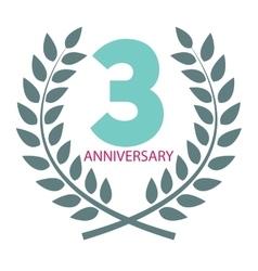 Template Logo 3 Anniversary in Laurel Wreath vector image vector image