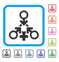 Triple penetration sex framed icon vector