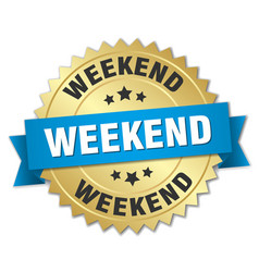 Weekend round isolated gold badge vector