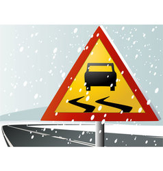 Winter road sign vector