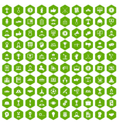 100 leadership icons hexagon green vector