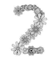 Hand drawn floral number 2 vector