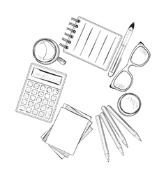 Set of hand drawn objects for business people vector image