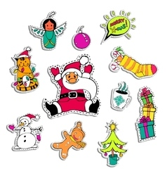 Christmas patch badges with santa claus snowman vector