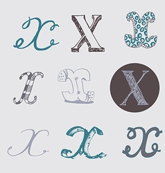 Original letters x set isolated on light gray vector