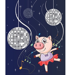 A pig dancing with disco lights vector