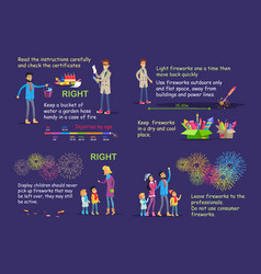 Picture instruction for right firework usage vector