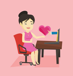 young woman dating online using laptop vector image