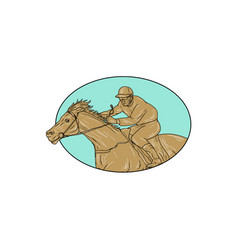 Jockey horse racing oval drawing vector